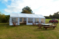 Marquee with outdoor furniture