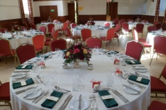 The hall ready for a wedding reception
